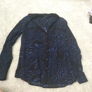 Express Blue Leopard Print Button Up Blouse